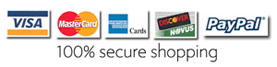100% secure online shopping through authorize.net. Shop with confidence.