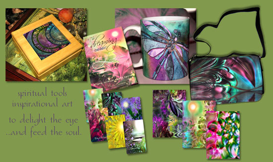 Spiritual and inspirational art tools and gifts; intuition enhancement decks, art shoulderbags, cosmic keepsake boxes, Dreamcards, sun catchers and much more. Click here to visit our online boutique.